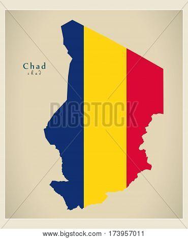 Modern Map - Chad Flag Colored Td