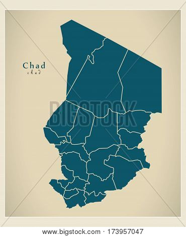 Modern Map - Chad With Regions Td