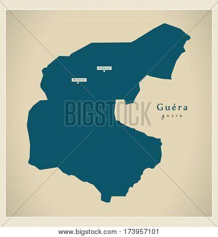 Modern Map - Guera TD illustration silhouette