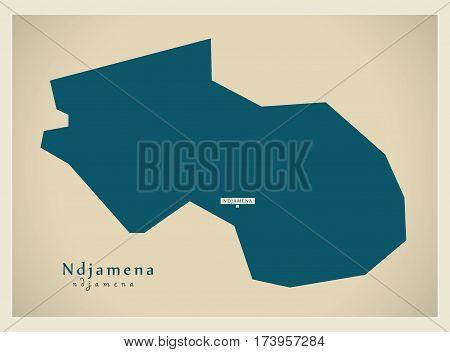 Modern Map - Ndjamena TD illustration silhouette