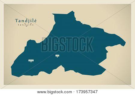 Modern Map - Tandjile TD illustration silhouette