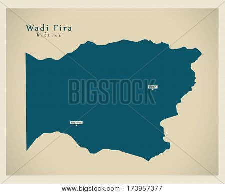Modern Map - Wadi Fira TD illustration silhouette