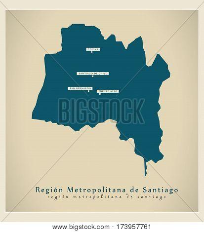 Modern Map - Region Metropolitana De Santiago Cl