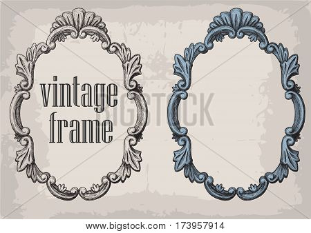 Set of vector hand drawn vintage frames. Collection of retro style design elements postcard banners logos. Vector template