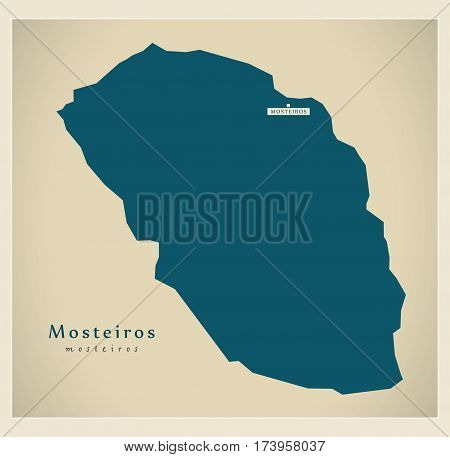 Modern Map - Mosteiros CV illustration silhouette
