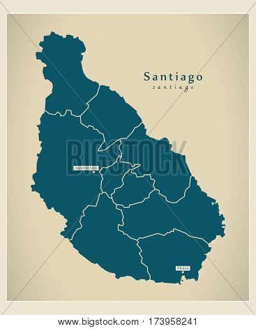 Modern Map - Santiago With Municipalities Cv