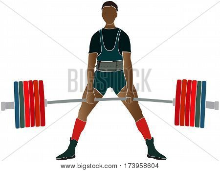 male athlete power lifter deadlift in power lifting color silhouette