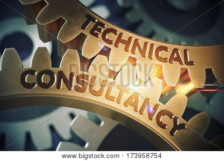 Technical Consultancy - Concept. Golden Metallic Cog Gears with Technical Consultancy Concept. 3D Rendering.