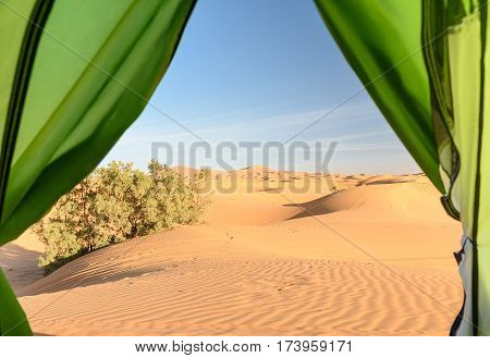 View from camp on sand dunes. Erg Chebbi Sand dunes in Sahara Desert near Merzouga Morocco