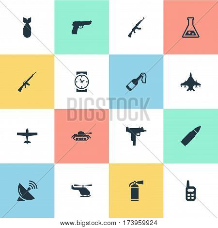 Set Of 16 Simple Army Icons. Can Be Found Such Elements As Kalashnikov, Rifle Gun, Pistol And Other.