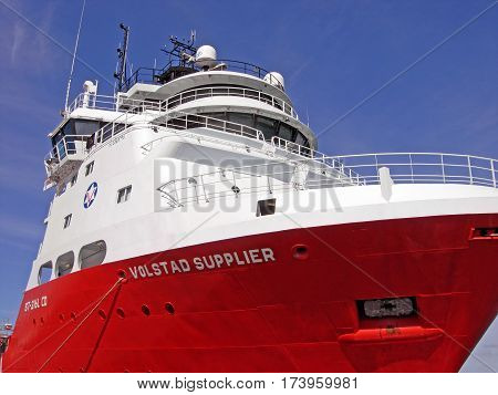 Stavanger, Norway - June 5, 2009: The vessel VOLSTAD SUPPLIER of the shipping company Volstad Shipping is moored in the port of Stavanger (Norway).