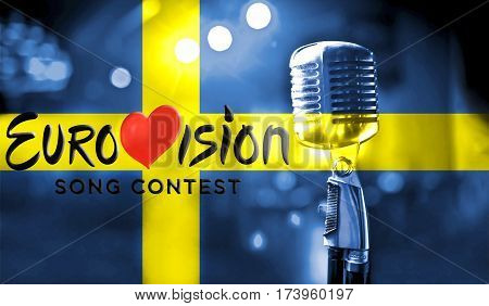 Photos banner with the official logo of the Eurovision Song Contest in the Swedish flag. Belarus01 March 2017