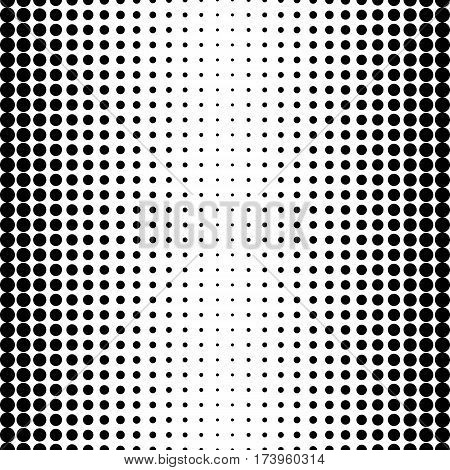 Vector seamless pattern, background with circles & dots, black & white halftone transition. Modern stylish monochrome texture. Design element for prints, stamping, decor, web, digital, textile, cover