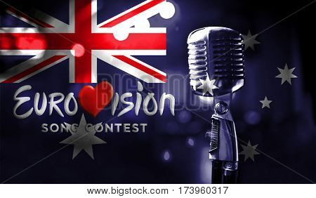 Photos Banner With The Official Logo Of The Eurovision Song Contest In The Australia Flag.