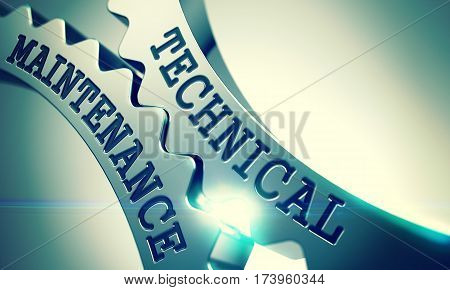 Technical Maintenance on the Mechanism of Metal Cogwheels with Lens Flare - Business Concept. Technical Maintenance - Illustration with Glowing Light Effect. 3D Illustration.