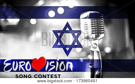 Photos Banner With The Official Logo Of The Eurovision Song Contest In The Israel Flag.