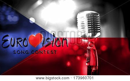 Photos Banner With The Official Logo Of The Eurovision Song Contest In The Czech Republic Flag.