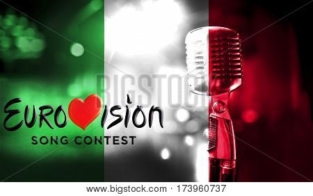 Photos Banner With The Official Logo Of The Eurovision Song Contest In The Italy Flag.