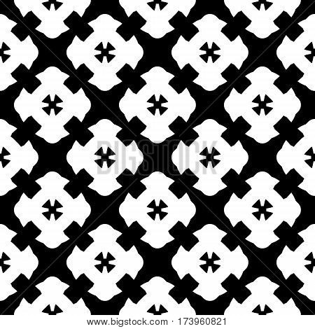 Vector monochrome seamless pattern, simple black & white repeat geometric texture, endless mosaic backdrop, retro gothic style. Abstract dark ornamental background. Design for decoration, prints, textile
