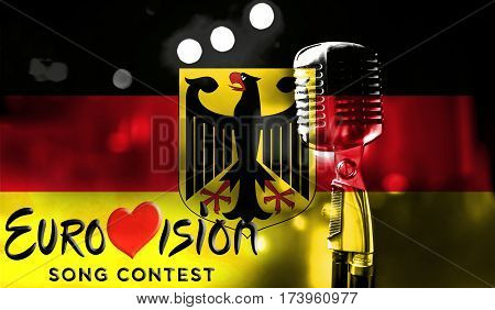 Photos Banner With The Official Logo Of The Eurovision Song Contest In The Belgium Flag.
