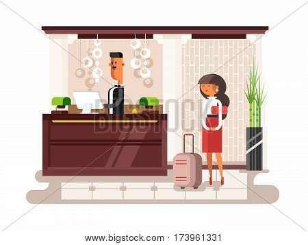Lobby hall hotel. Interior room, indoor reception service, tourist waiting flat vector illustration