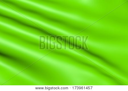 Satin fabric glossy green is the waves for the background. Silk material whimsical bent. Cloth folded bright - texture for the backdrop.
