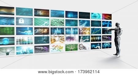 Video Screens Wall with Man Pointing at a Screen 3D Illustration Render