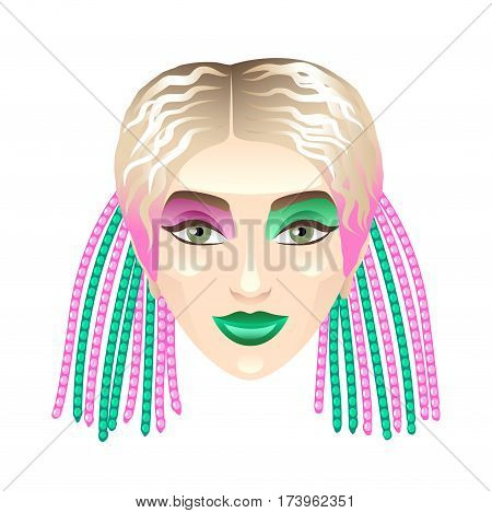 Blonde girl with colorful pigtails isolated vector illustration