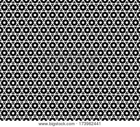Vector monochrome seamless pattern. Simple dark modern geometric texture with small hexagons. Hexagonal grid, lattice. Repeat black & white abstract background. Design for print, decor, textile, wrapping, web