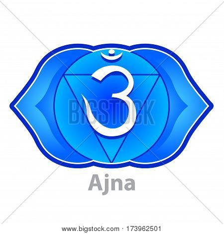 Chakra ajna isolated on white vector illustration