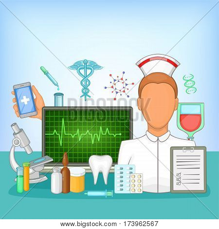 Medicine concept pharmacy. Cartoon illustration of medicine vector concept for web