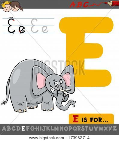 Letter E With Cartoon Elephant