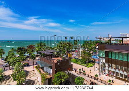 PATTAYA THAILAND - JANUARY 24: View of Pattaya beach road waterfront area and the entrance to Central world shopping mall which is in the downtown area of the city on January 24 2017 in Pattaya