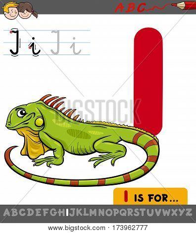 Letter I With Cartoon Iguana
