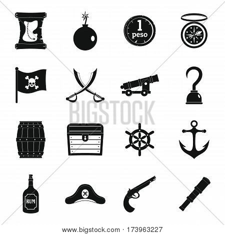 Pirate icons set. Simple illustration of 16 pirate vector icons for web