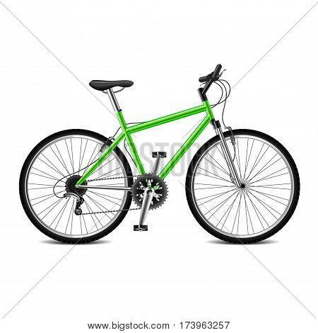 Geen bicycle isolated on white photo-realistic vector illustration