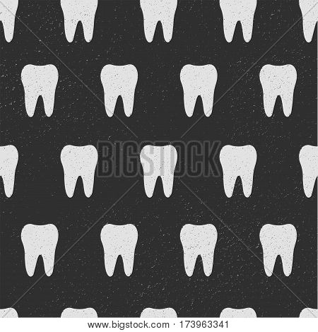 Tooth. Seamless pattern. White teeth isolated on black background. Vector, eps10. Fabric print. For textile, wed, poster background design