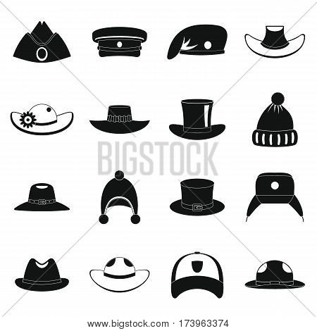 Headdress hat icons set. Simple illustration of 16 headdress hat vector icons for web