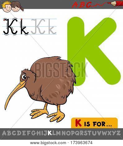Letter K With Cartoon Kiwi Bird