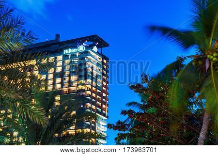PATTAYA THAILAND - JANUARY 27: This is the Hilton hotel in the city center of Pattaya. The hotel is situated on beach road with sea views on January 27 2017 in Pattaya