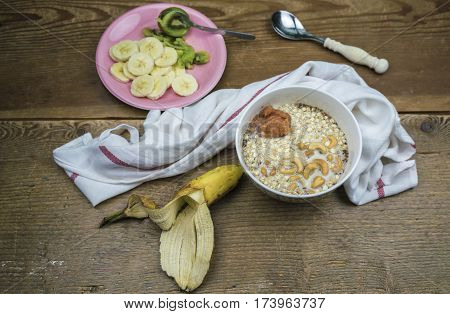 Oatmeal With Fruits, Breakfast Concept