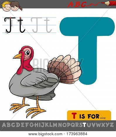 Letter T With Cartoon Turkey