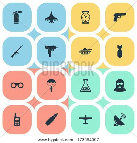 Set Of 16 Simple Battle Icons. Can Be Found Such Elements As Walkies, Watch, Rifle Gun And Other.