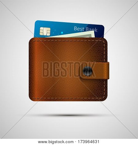 Leather wallet with blue credit card and green dollar. Vector illustration, eps 10. Brown wallet with money isolated with shadow.
