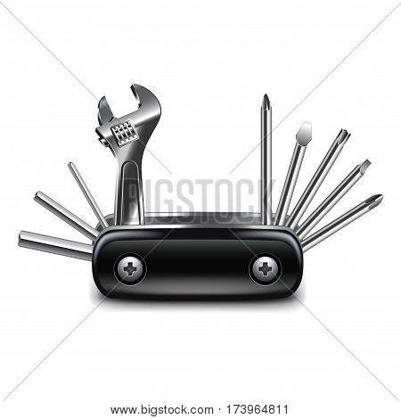 Multitool isolated on white photo-realistic vector illustration