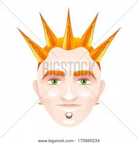 Red-haired man with punk hairstyle isolated on white vector illustration