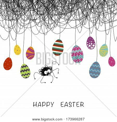 Cover design. Depicted spider and spiderweb black background. On the spiderweb Easter eggs different design and colors and phrase happy Easter on the white background.
