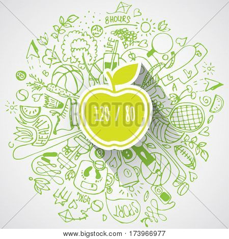 Health lifestyle concept with apple and doodles about sport and healthy food