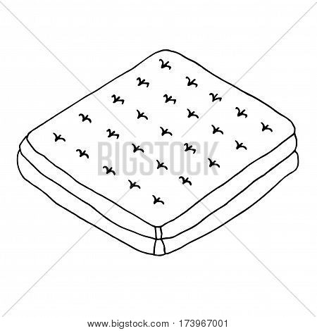Mattress. Hand drawn illustration. Sketched vector isolated object on white background