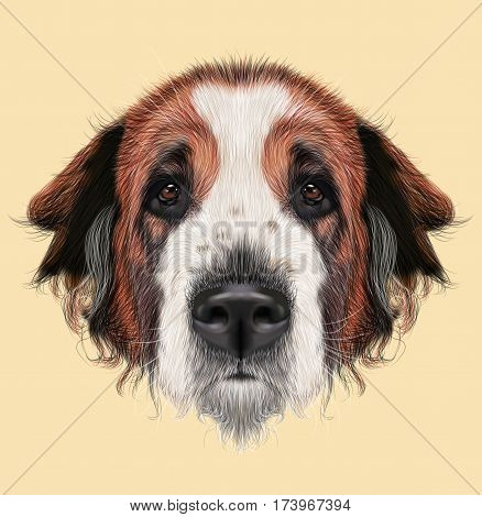 Illustrated Portrait of Moscow Watchdog dog. Cute face of domestic breed dog on beige background.